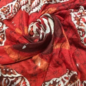 Vintage Accessories - Large Flowy Dyed Red Hippie Scarf